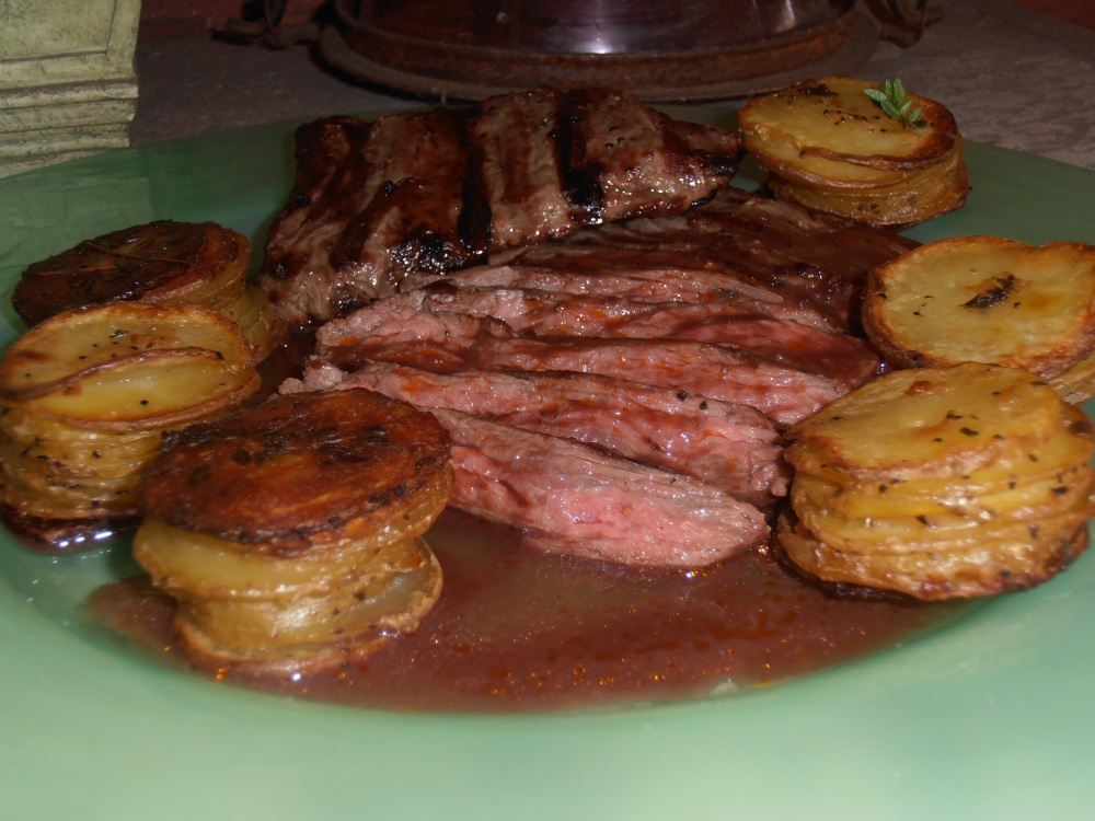 Skirt Steak with Red Wine Sauce and Mini Herbed Pommes Anna
