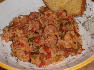 Smoked Sausage Jambalaya and Le Bus Cornbread